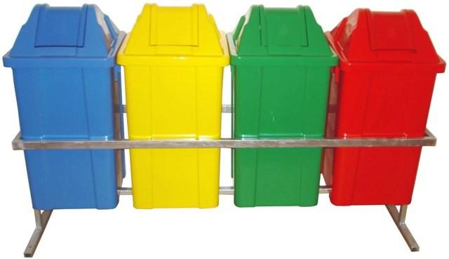 Conjunto para Coleta com 4 Cestos Quadrados de 60 litros - JSN