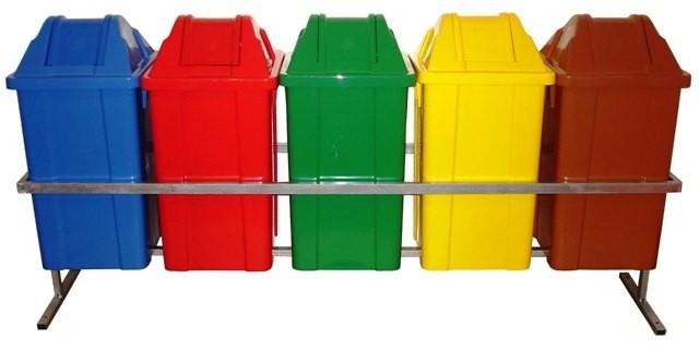 Conjunto para Coleta com 5 Cestos Quadrados de 60 litros - JSN
