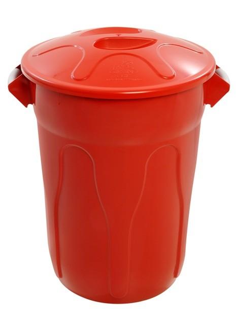 Cesto Plástico 100 Litros com Tampa - Vermelho