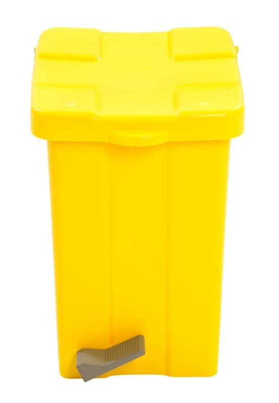 Cesto Quadrado com Pedal 25L - Amarelo
