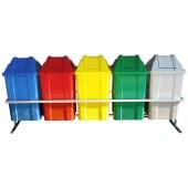 Conjunto para Coleta com 5 Cestos Quadrados de 100 litros - JSN